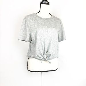 TopShop Gray Cropped Tie Short Sleeve Tee